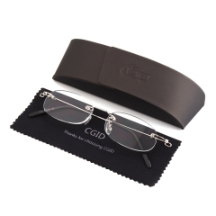 CGID Sleek Design Oval Rimless Frameless Magnifying Resin Lenses Spring Hinge Reading Glasses