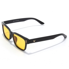 CGID Square Vintage Anti Blue Light Eye Strain and UV Light Glasses,Yellow Lens