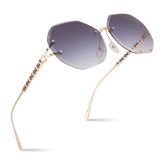 CGID New Arrival Rimless Sunglasses for Women With Diamond Cut