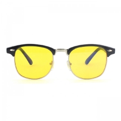 CGID Classic Retro Horn Rimmed Blue Light Blocking Glasses ,Yellow Lens