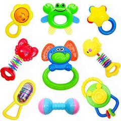DUDUDRAGON Baby Rattles Teether, Shaker, Grab and Spin Rattle, Musical Toy Set, Early Educational Toys for 3, 6, 9, 12 Month Baby Infant, Newborn