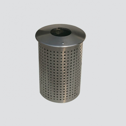 BS40 Outdoor Round Perforated Metal Trash Bin