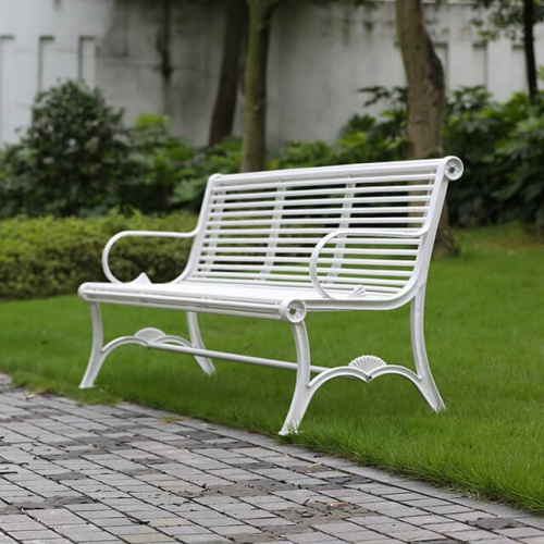 outdoor metal leisure white bench