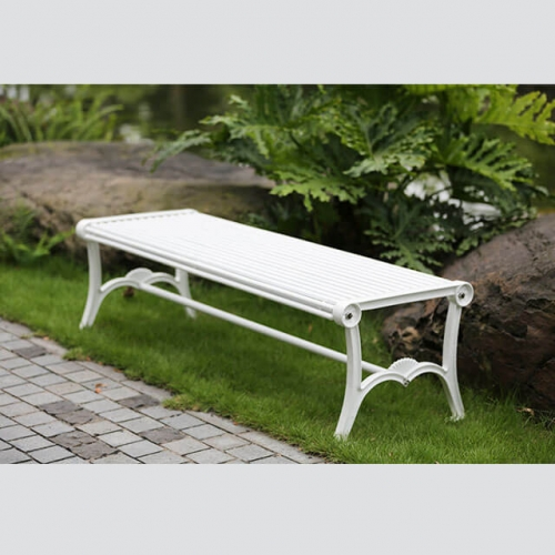 white outdoor park backless bench