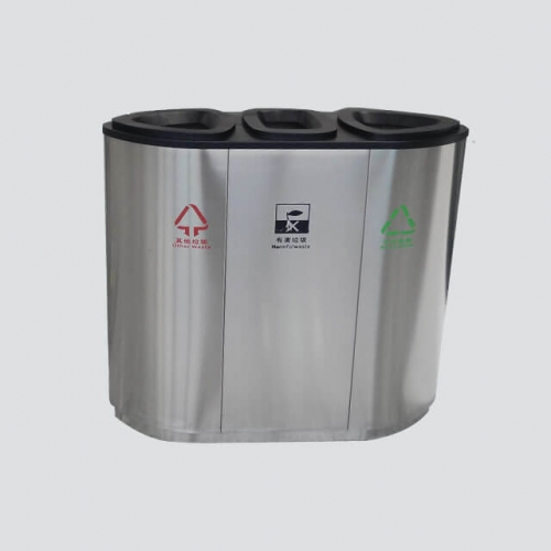 steel 3 compartment garbage can