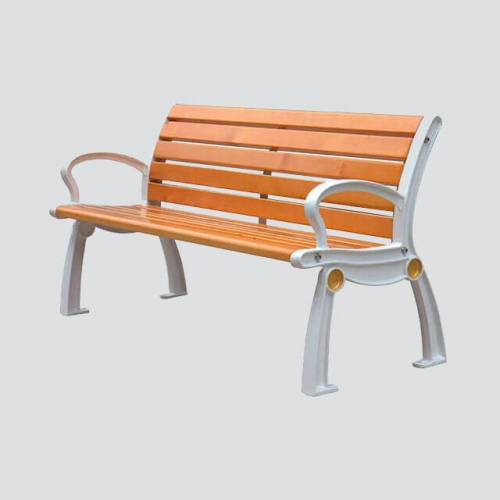 FW11 wood park bench with cast iron leg