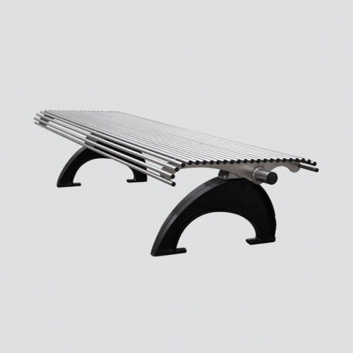 stainless steel park silver bench