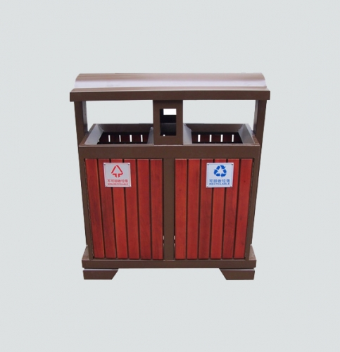 outdoor dual compartment garbage can