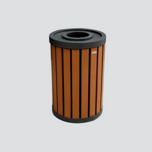 round wooden easy covered dustbin