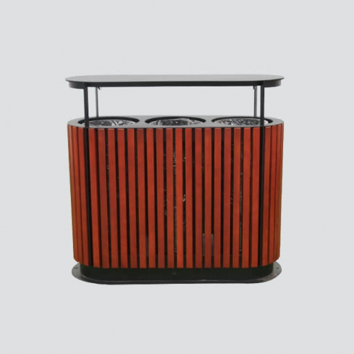 outdoor wooden compartment trash can