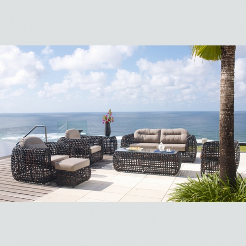 RT-12 outdoor patio rattan sofa garden furniture luxury wicker sofa set 6 seater with table