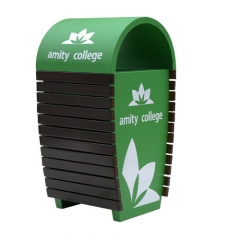 green school trash trash bin