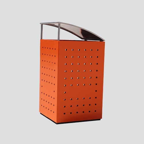 orange outdoor square trash can