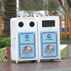 Outdoor dual recycle garbage can