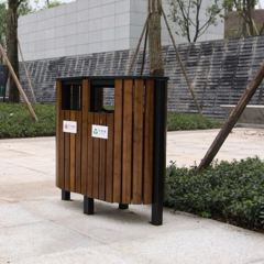 Commercial Outdoor Wood Trash Can