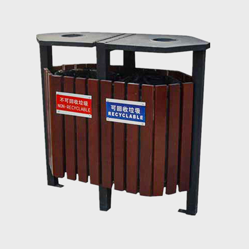 Outdoor garden Wooden Recycling Trash Can