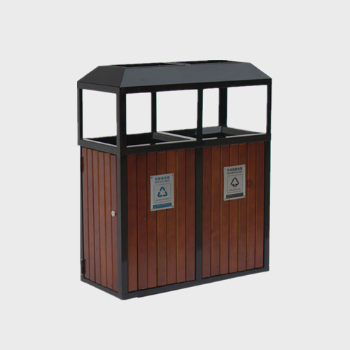 outdoor wood 2 compartment garbage bin