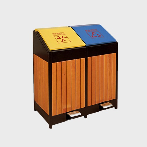 two compartment commercial wooden waste bins