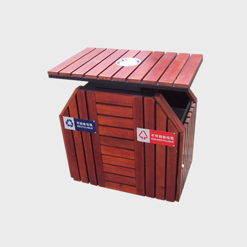 Outdoor Double Wooden Trash Can