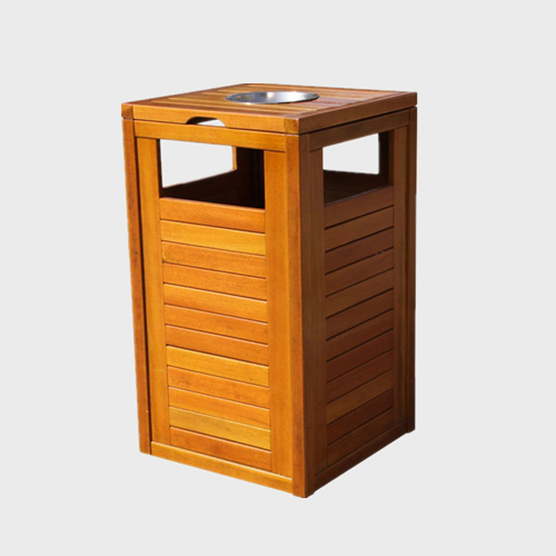 outdoor patio wood trash can