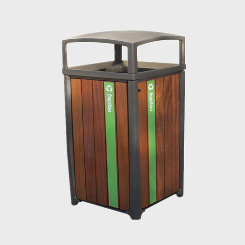 Outdoor Wooden Big Garbage Waste Bin