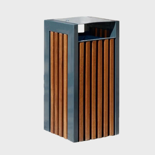 Outdoor Steel And Wood Waste Bin