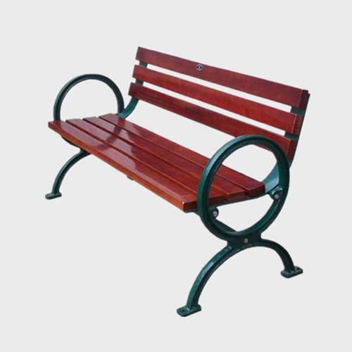 public wooden bench with back