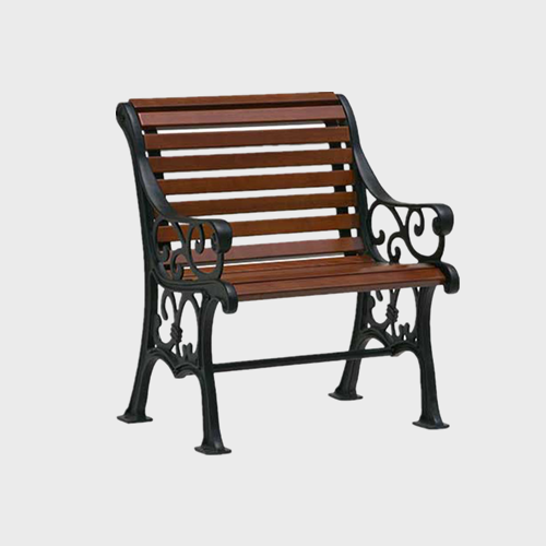 Wood cast iron garden chair