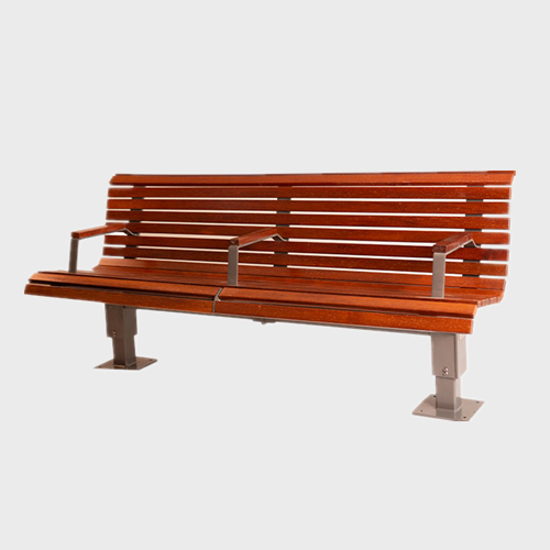 Outdoor park wood steel bench