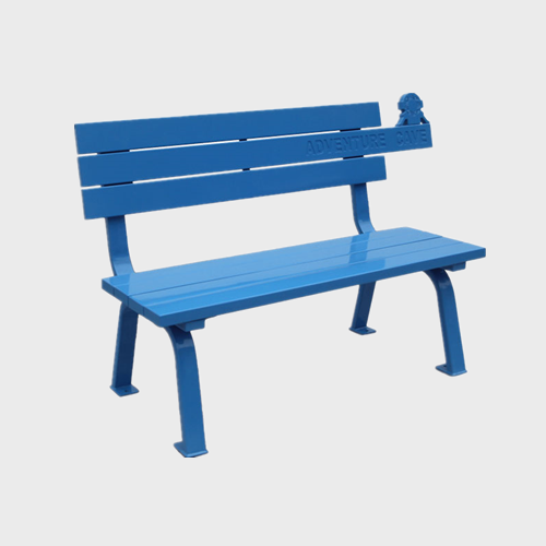 Simple outdoor wood blue patio bench