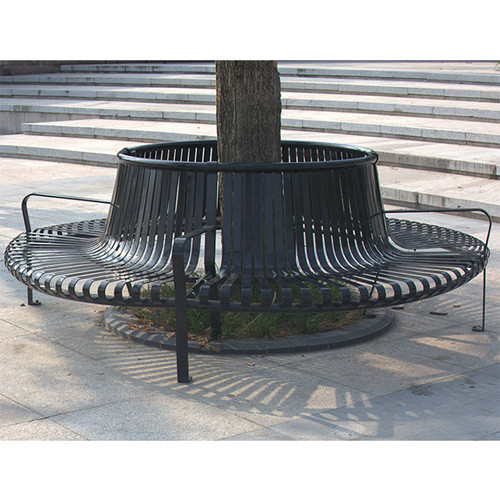 street furniture outdoor steel bench around tree