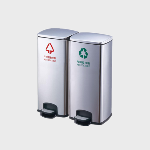 BS124 Stainless Steel Garbage Sorting Trash Can Pedal Type