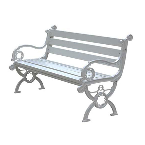 Antique white wood garden bench