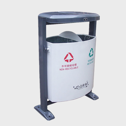 outdoor street Iron Trash Can Sorting waste bin