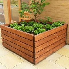 outdoor large rectangular planter street wooden flower pot