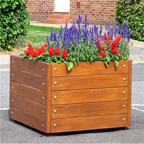 wood garden planter outdoor street flower pots