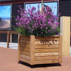 outdoor wood planters standing street plant pots