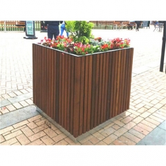 outdoor square wooden flower pot