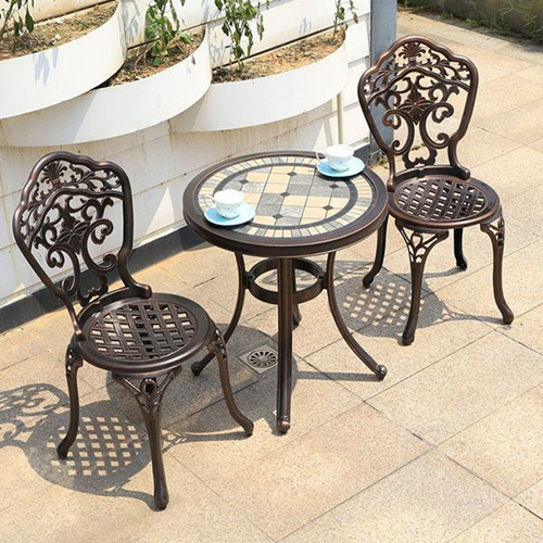 Outdoor Garden Courtyard Cast Aluminum Tables And Chairs