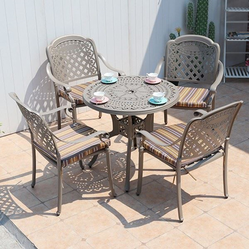 Round Cast Aluminum Dining Tables And Chairs