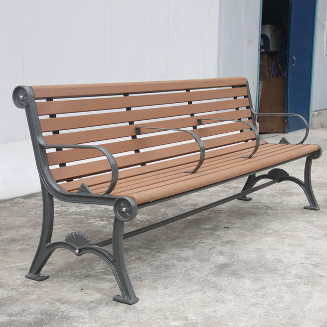 outdoor 3 seater wood bench with cast iron legs for Saudi Arabia customer