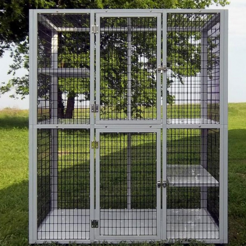 large metal dog crate outside dog kennels for sale