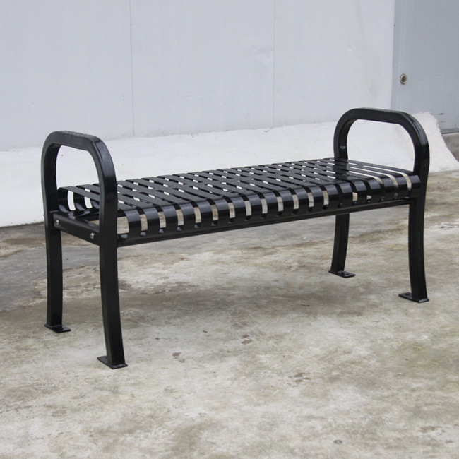 outdoor black metal backless bench for customer