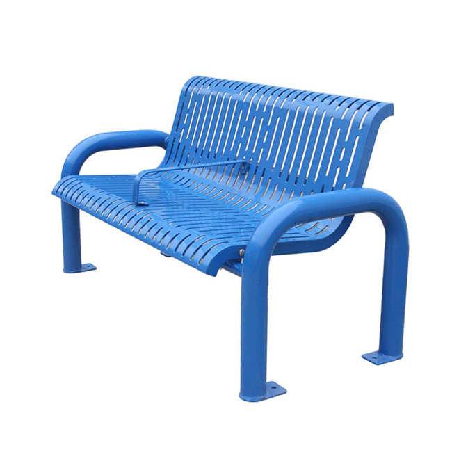 outdoor garden blue decorative metal bench for customer
