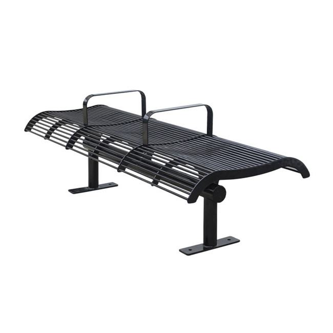 outside city street black steel park backless bench for customer