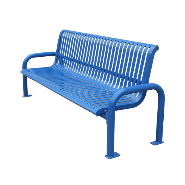 public modern blue metal park waiting benches for customer