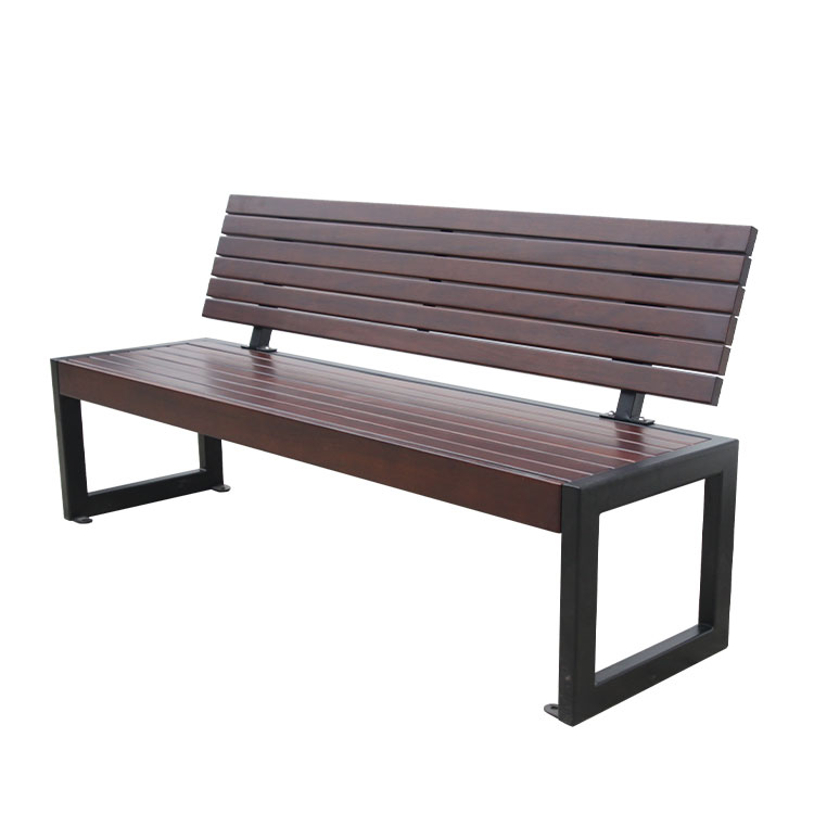 outdoor cast iron garden wood bench with back for customer