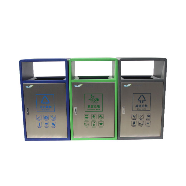 outside stainless steel 3 compartment waste bin for customer