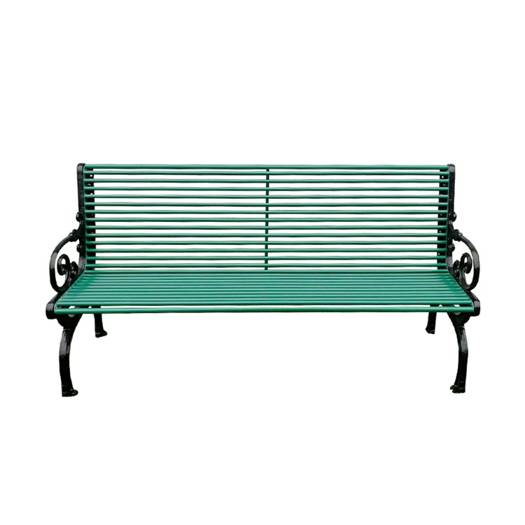 outdoor seating metal green bench