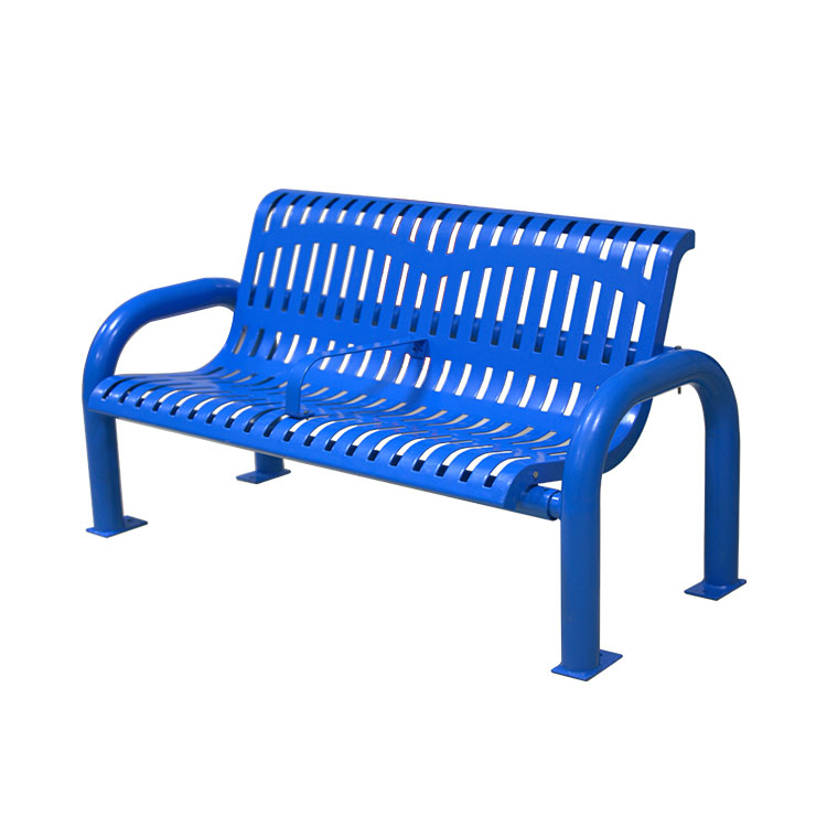 modern outdoor garden blue bench